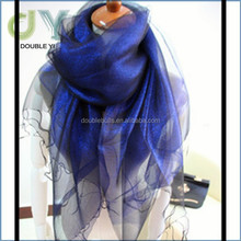 Custom Wholesale Lady Square Silk Scarf Colorful Ring purple color Shawls Scarf
