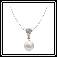 Latest Women Accessories Fake Pearl Necklace Wholesale Silver Jewelry MGJ0161