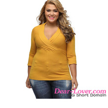 Yellow Deep V Fitted Rubbed Knit Plus Size blouse front neck design