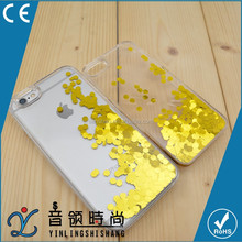 2016 hot selling Customized Golden Liquid Glitter Bling PC Mobile Phone Cover Case for Iphone 5s 6s 6plus 7