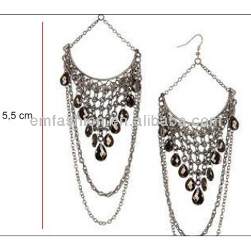 Fashion New Handmade Charming Teardrop Beads Chain Costume Chandelier Earring