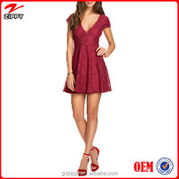 2016 Princess Lace Red Dress Woman Clothes Summer Dress