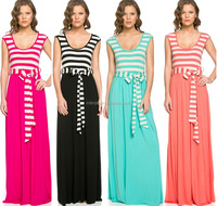 WOMEN STRIPE PRINT CONTRAST SCOOP BACK CAP SLEEVE COMBO MAXI DRESS