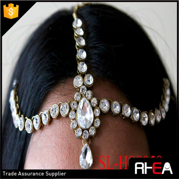 Factory Directly Bridal Wedding Headpiece Rhinestones Indian headchain hair accessory