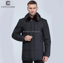 15560 Fashion Warm Man Polyester Jacket Coats New Style Casual Men Long Winter Coat With Mink Fur Turndown Collar