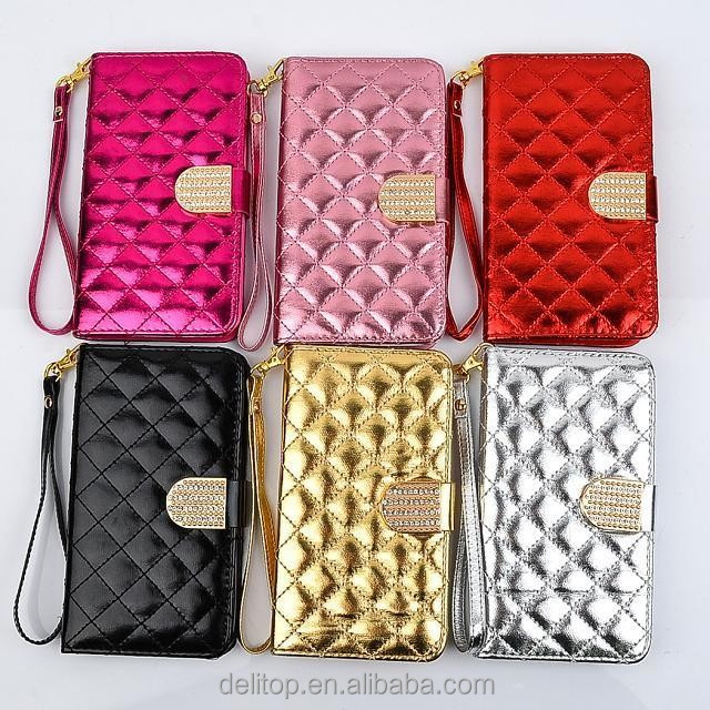 Luxury Bling Diamond Strap Card Holder Flip Quilting Leather Cover Case For Samsung Galaxy Note 3