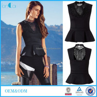 Wholesale Ladies Sleeveless Blouse Black Formal Peplum Top