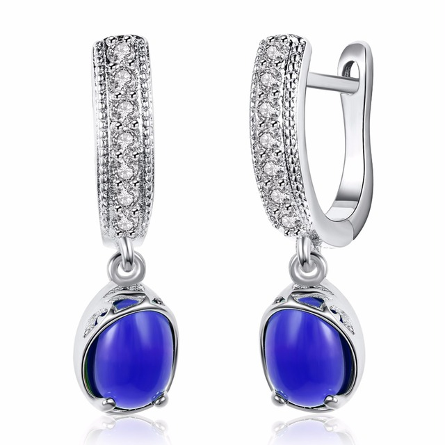 OUXI OEM Manufacturer young lastest fashion fine jewelry colorful zircon earrings C20084