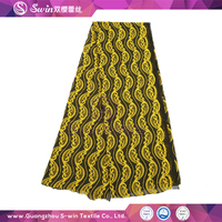 Black Yellow Double Colors Lady Dressed Fancy Lace /Nylon Cotton Multi-color lace fabric