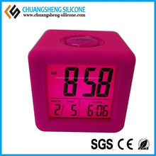 Hot selling square shape one button silicone digital LED light table alarm clock
