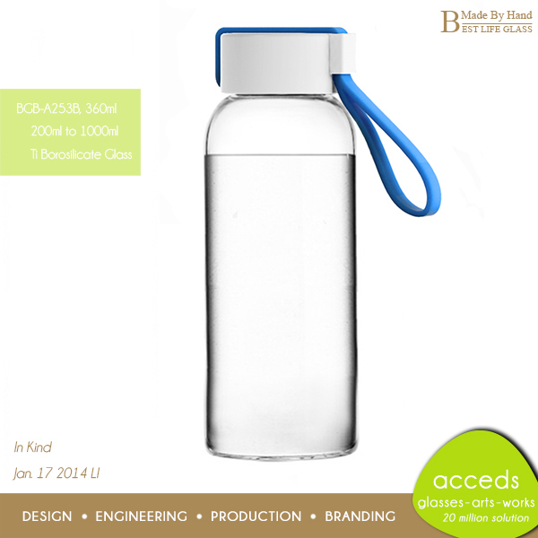Eco-Friendly Borosilicate Glass Drinking Water Bottle For Sport