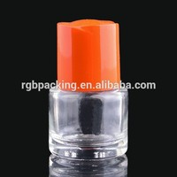 cylinder clear bottle 7ml empty glass nail glue packaging bottle with brush