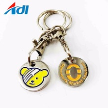 Hot selling cute bear trolley coin holder keychain with metal hook