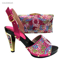 2017 Multicolor Shoes and matching clutch bag fashion high heel women shoes for party