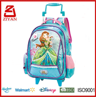 Ziyan Factory New cartoon design Polyester Kids Trolley school bag for girls with wheels