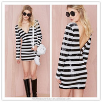 Black And White Stripes Sequin Dress V at Front and Back New Fashion European 2015