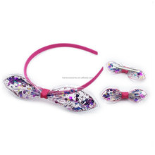 PVC Kids Hair Accessory Set-PVC Bow plus Sequins Hair Band with Hair Clip Set