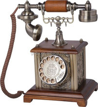 Old Grandfather Retro Rotary Dial Corded Phone for Elderly People