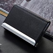 SZT0088 black PU leather pocket metal business ID credit card holder case wallet
