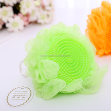 Wholesale colorful shower puff balls with brush