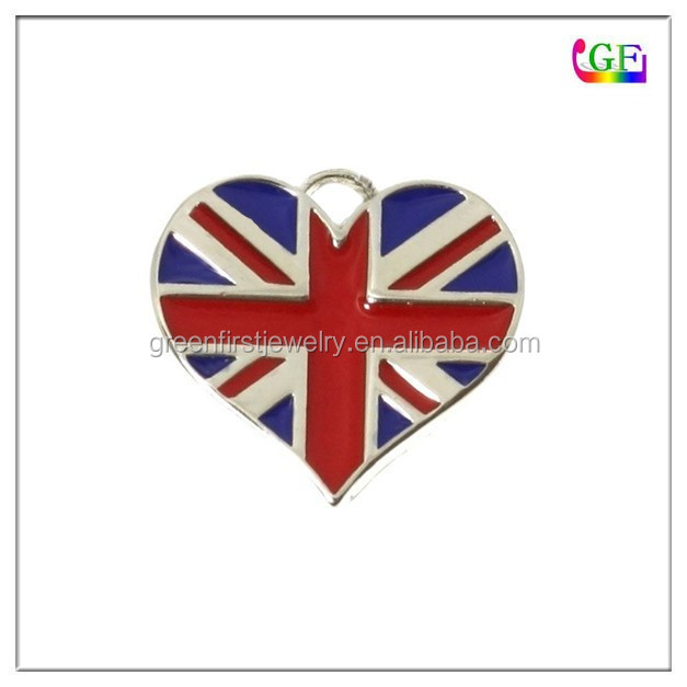 Custom rhodium Enamel Three United Kingdom Flag heart Charms