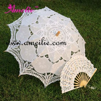 White Embroidered Battenburg Lace Parasol and Fan Bride Adult size Vintage
