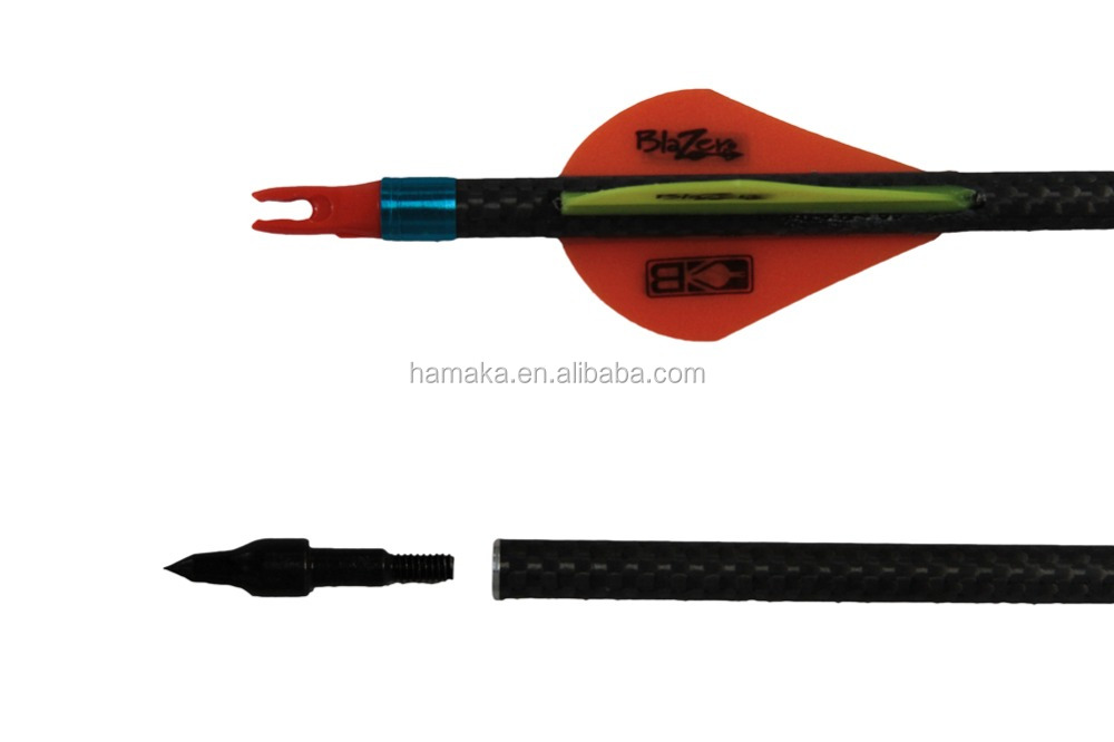"Archery Carbon Arrow 3K Weave SP350 Arrow 32"" Shaft ID 6.2mm With Nocks For DIY Compound/Traditional Bow"