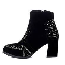 fashion ladies women embroidery chunky heel ankle boots