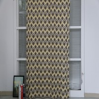 Lovely modern Poland living room linen mixed printed window curtain panel for cheap hometextile
