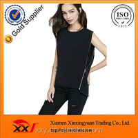 stylish girls top wear black side zip crew neck ladies cotton tank tops pictures of girls cotton tops