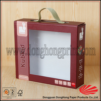 Toy packaging cardboard case with handle and clear window