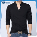 New items blank long sleeve V neck split bottom cheap polo shirts mens black polo shirt
