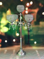2015 New Design and elegant tall 5 arms wedding crystal ball candelabra on sale
