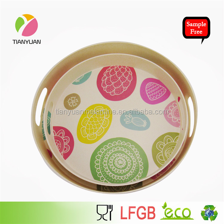 Good quality cutom printing desing bamboo fiber melamine serving tray
