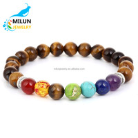 Custom 2017 Colorful agate friendship Natural stone beads Yoga charm beaded bracelet men