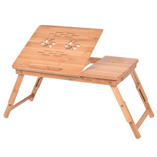 Factory Sale Foldable Bamboo Laptop Table PC Notebook Desk Stand with Adjustable Legs and Side Drawer