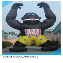 black giant inflatable king kong with yellow shorts