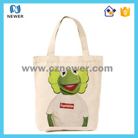 Custom cute cartoon logo print cotton canvas tote shopping bag
