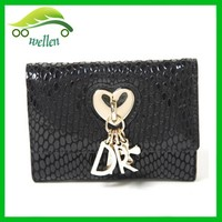 Fashion Trendy Silver Women Purse Melon Lines Short Wallets with Pendant