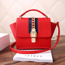 Fashion Women pu Leather Red Color Leather Shoulder Bag Women French Designer Handbags