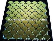 MI02 fish scales gold stainless steel metal mosaic tile -fan shape polished finished China metal tile as construction materail
