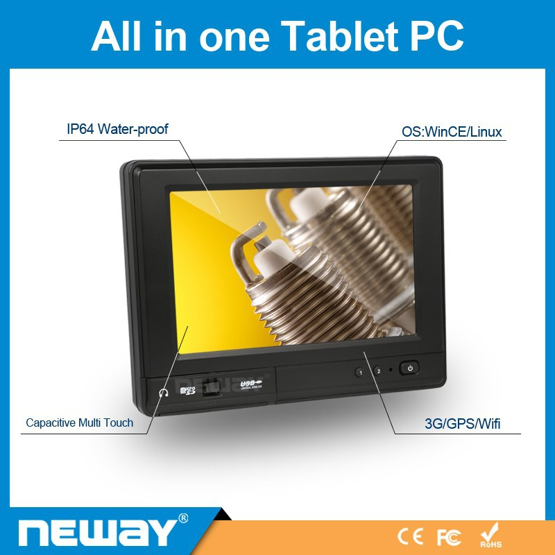 "7"" Embedded IP64 WINCE cashier Kiosk tablet"