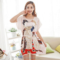 Hot Selling 20 Colors Women Custome Printed Nightgown Cheap Sexy Pajamas