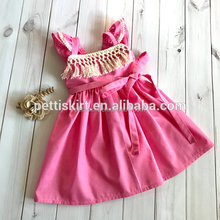 Baby cotton frocks designs solid pink girl fancy long frocks with tassels