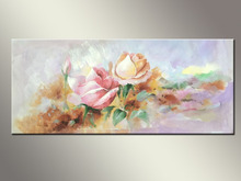 Handpainted Beautiful Rose Flower Oil Painting on Canvas