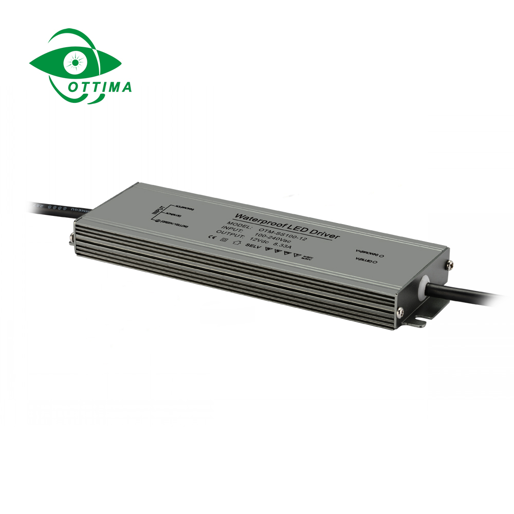 slim ultra thin 100w waterproof ip67 led driver 12v switching mode ac to dc power