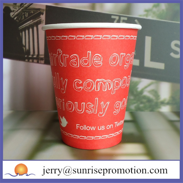 Disposable letters design red printed paper cup