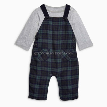 Wool fabric classical check boys romper suit set