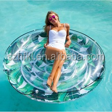 pool favor trendy tropical leaf pattern circular inflatable pool float of wholesale