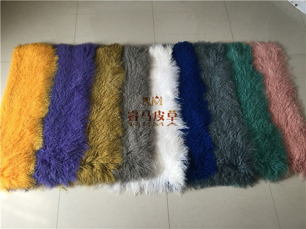 Real Mongolian Tibet Lamb Fur Rug Plate Throw New genuine Wool